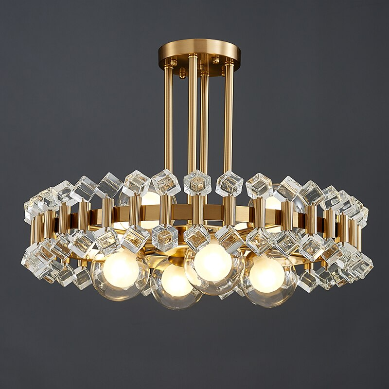 Bailey Colorful Gem And Crystal Two Tier Round Chandelier - Venetto DesignCube crystal / Dia45xH20cm / Warm white light