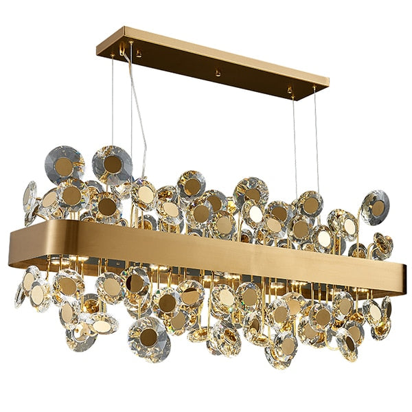 Reese Disc Detailed Crystal And Metal Bar Chandelier - Venetto DesignGold / L90XW32XH40cm / Warm light 3000K