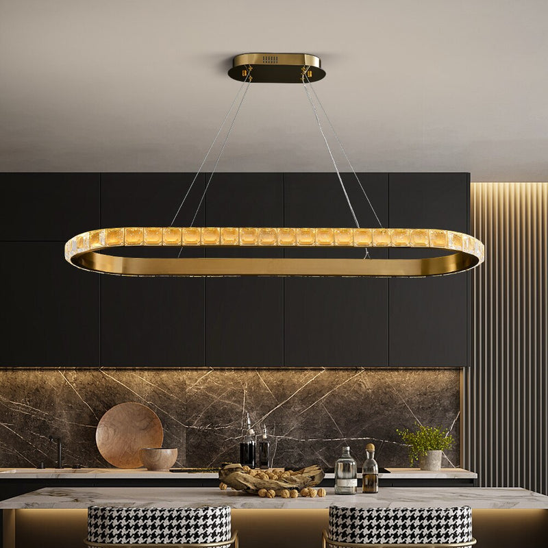 Genesis Wrap-Around Crystal And Metal Rounded Bar Chandelier - Venetto Design