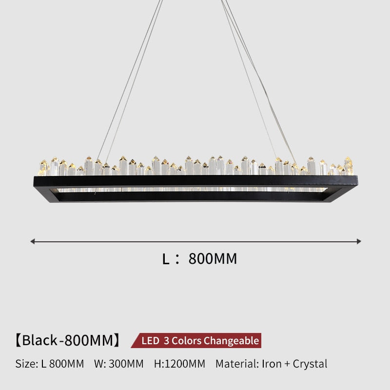 Giovanni 3D-Crystal Edge Metal Ring Chandelier - Venetto DesignL80cm W30cm - Black / 3 Colors Changeable