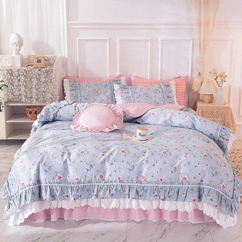 Alessia Ruffled 100% Cotton Bed Skirt And Duvet Cover Set - Venetto Design