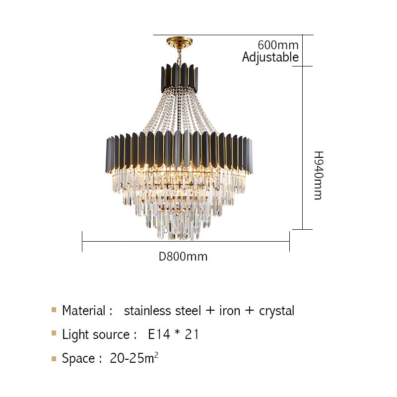 Logan Modern Stainless Steel Tiered Crystal Chandelier - Venetto DesignDia80cm H94cm / Warm light