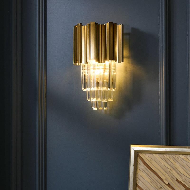 Rosalie Ridged Metal And Crystal Wall Lamp - Venetto Design