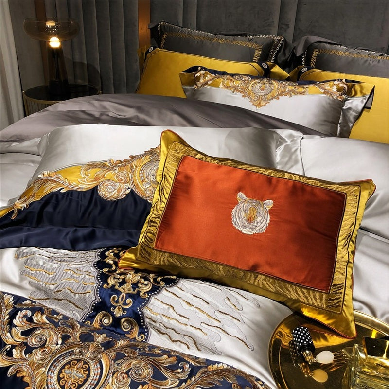 Daniella Damask Embroidered Satin Egyptian Cotton Duvet Cover Set - Venetto Design