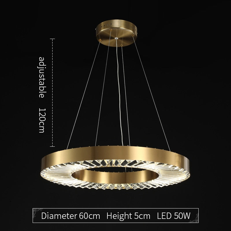 Kara Minimalist Metal And Glass Ring Chandelier - Venetto DesignDiameter 60cm / Dimmable With Remote