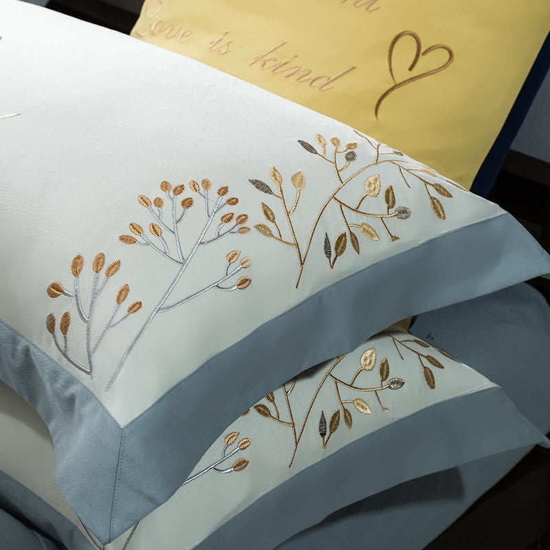 Taylor Floral Embroidered Border Egyptian Cotton Duvet Cover Set - Venetto Design