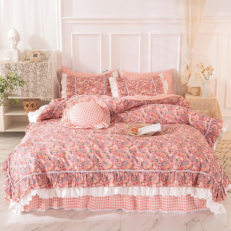 Alessia Ruffled 100% Cotton Bed Skirt And Duvet Cover Set - Venetto DesignColor 1 / 1.5m Queen size 4Pcs
