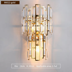 Clare Art Deco Iron And Crystal Wall Lamp - Venetto DesignDia23cm H40cm-Gold / Warm White (2700-3500K)