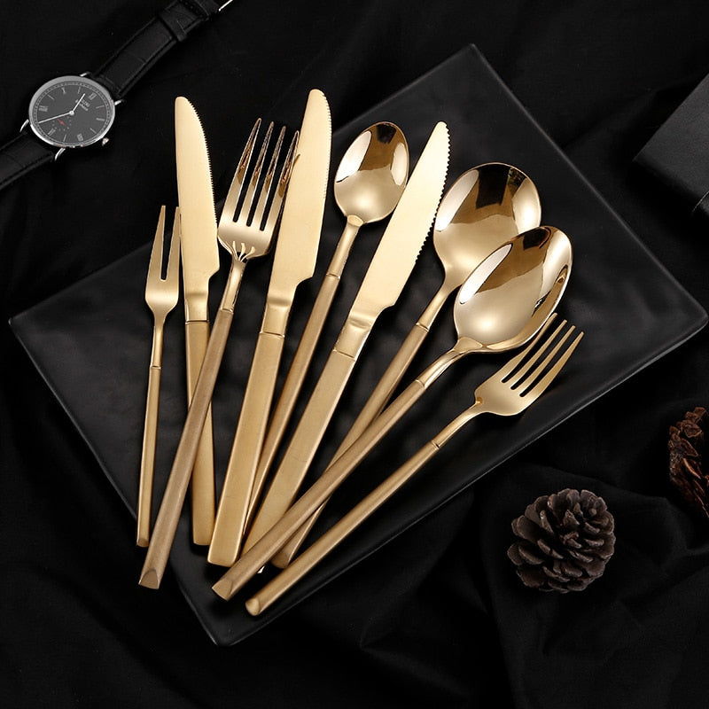 Spklifey Cutlery Tableware Stainless Steel Cutlery Set Forks Knives Spoons Cutlery Gold Fork Spoon Knife Dinner Set Eco Friendly