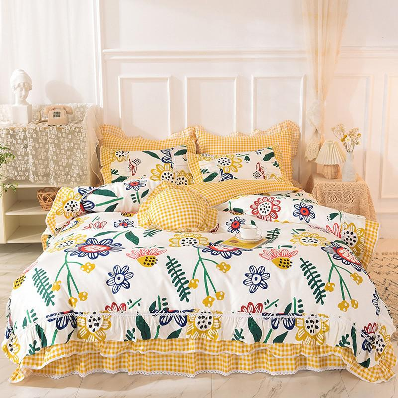 Alessia Ruffled 100% Cotton Bed Skirt And Duvet Cover Set - Venetto DesignColor 4 / 1.5m Queen size 4Pcs