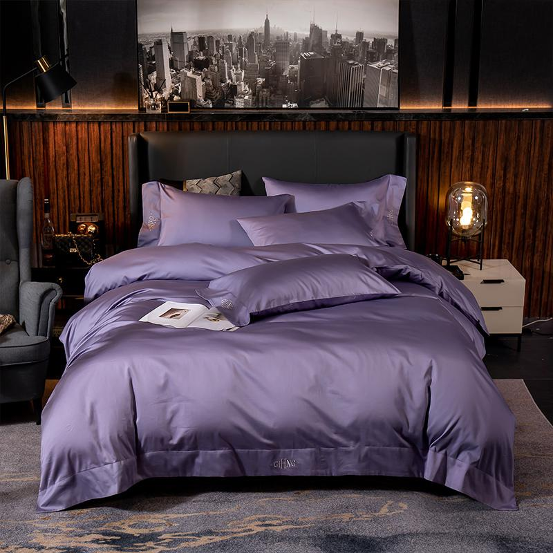 Lakibia Silky Soft Egyptian Cotton Bedding Set - Venetto DesignProudly Purple / Fitted Bed Sheet / King size 4Pcs