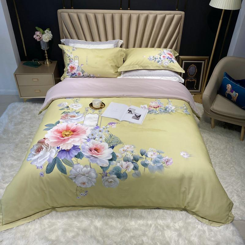 Jennifer Vintage Bouquet Printed Egyptian Cotton Duvet Cover Set - Venetto DesignColor 7 / Queen size 4Pcs