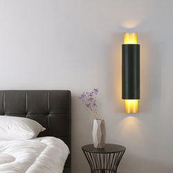 Noir Metal And Glass Cylinder Wall Lamp - Venetto Design