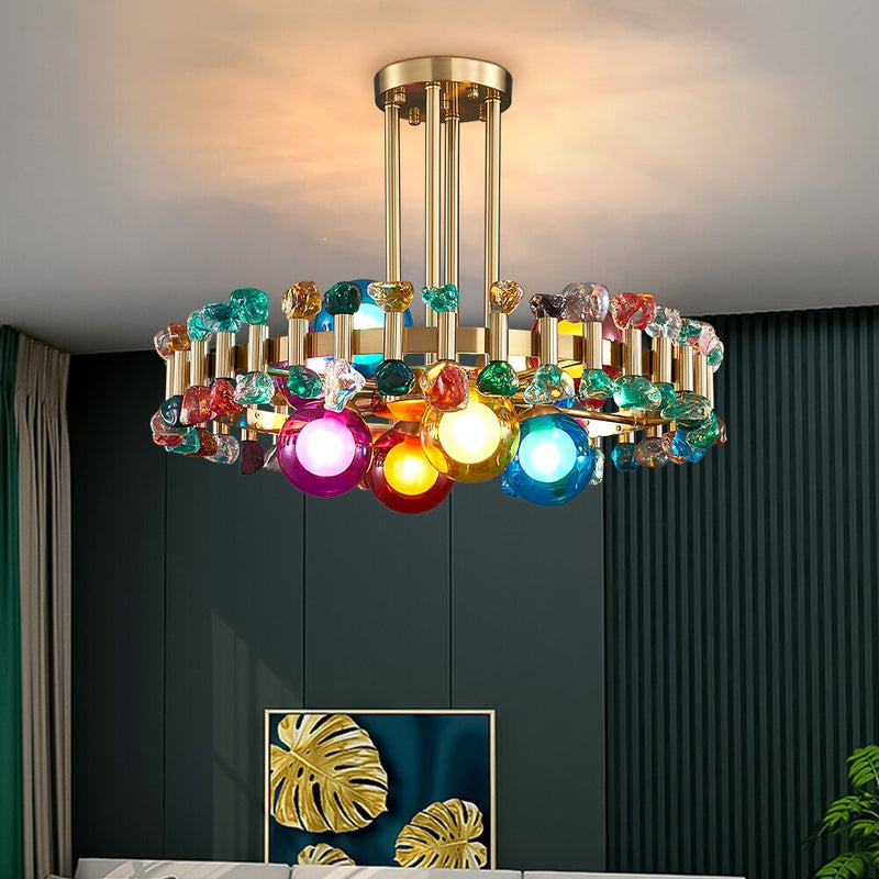 Bailey Colorful Gem And Crystal Two Tier Round Chandelier - Venetto Design