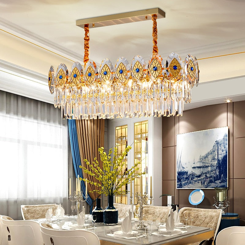 Eliana Oval Inlay Three-Tiered Crystal Chandelier - Venetto Design