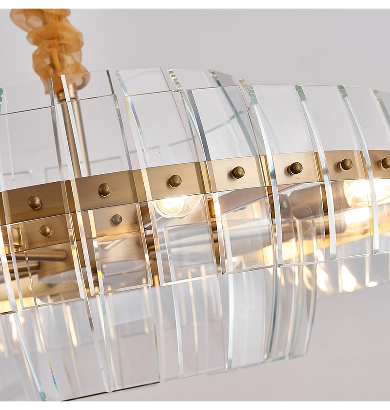 Marissa Curved Smoky Glass And Copper Bar Chandelier - Venetto Design