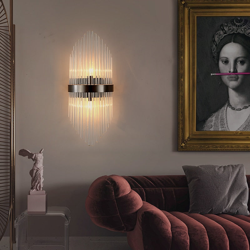 Diana Tapered Crystal And Gold Ring Wall Lamp - Venetto Design