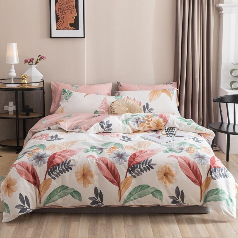 Maria Contemporary Botanical Printed 100% Cotton Duvet Cover Set - Venetto DesignColor 9 / Queen size 4Pcs