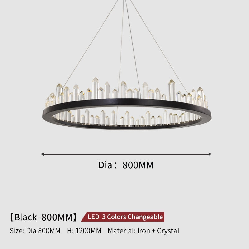 Giovanni 3D-Crystal Edge Metal Ring Chandelier - Venetto DesignDia80cm-Black / 3 Colors Changeable
