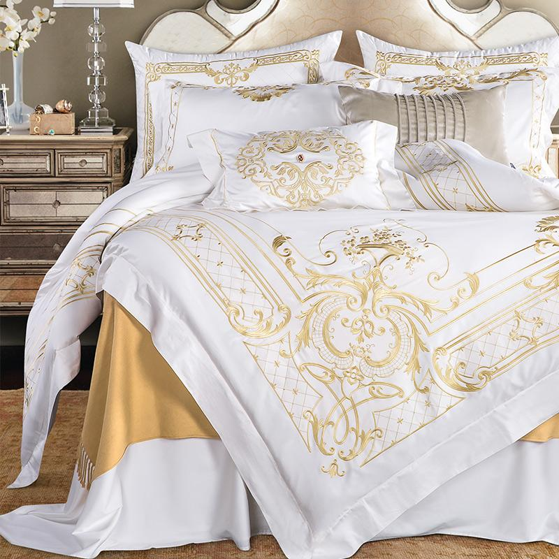 DeLuxxe White Egyptian Cotton Premium Embroidery Duvet Cover Set - Venetto Design