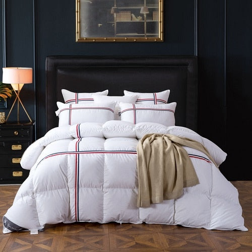 Ghaith Tri-Striped Goose Down 100% Cotton Comforter - Venetto Designwhite 1 / 150x200cm 2500g