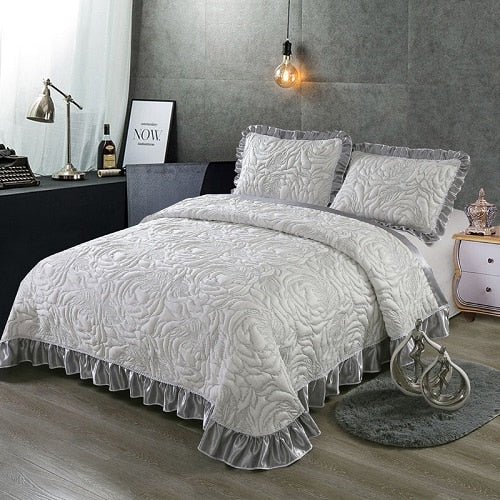 Aabirah Wide Ruffled Edge 100% Cotton Bedspread Set - Venetto Design3 / 230X250 cm 3pcs