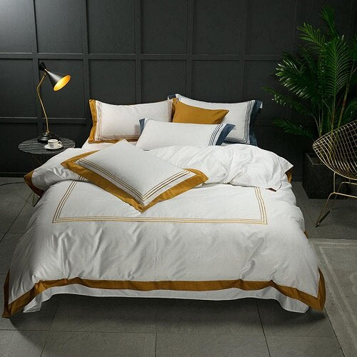 Nalva Luxury White 100%Cotton Duvet Cover Set - Venetto Design2 / King size 4pcs / Fitted sheet style