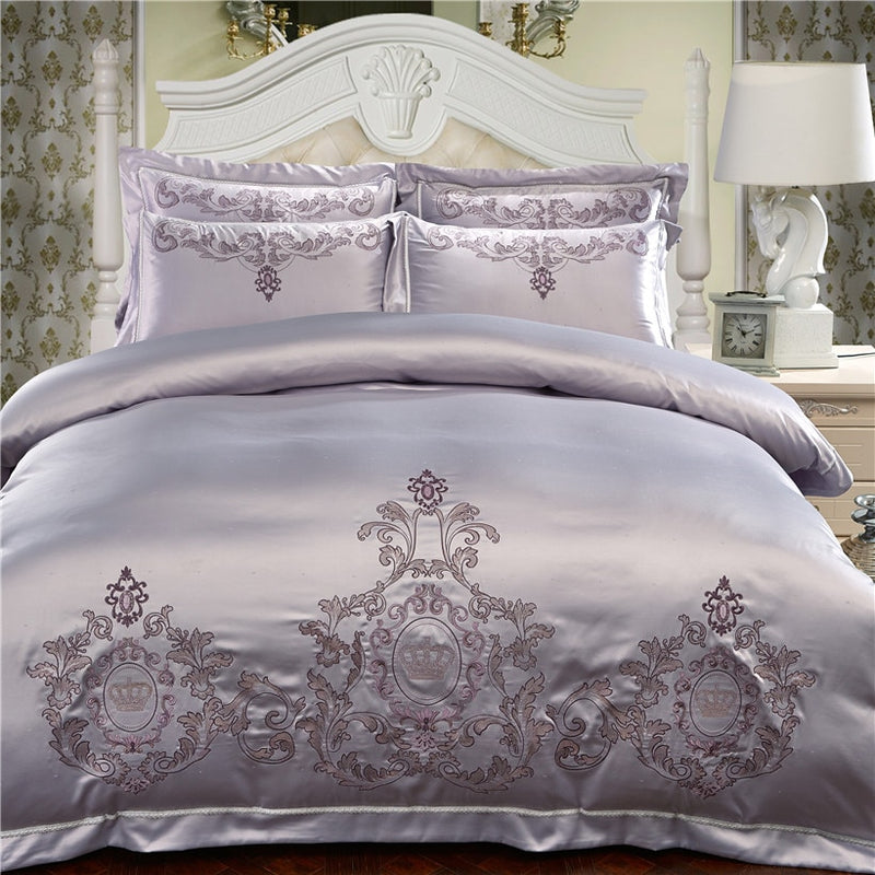 Milessa Silver Cotton Chinese Embroidery Duvet Cover Sets - Venetto Design1 / King size 4pcs