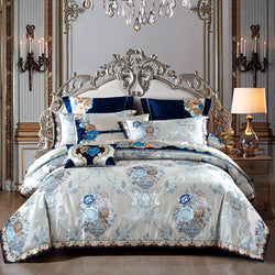 Kaleyra Silver Golden Silk Satin Cotton Duvet Cover Set - Venetto Design1 / King size 10Pcs
