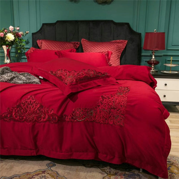 Miriada Red Egyptian Cotton Luxury Duvet Cover Set - Venetto Design
