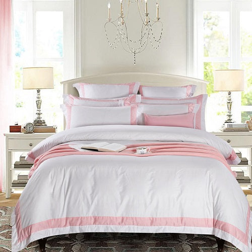 Nalva Luxury White 100%Cotton Duvet Cover Set - Venetto Design22 / King size 4pcs / Fitted sheet style