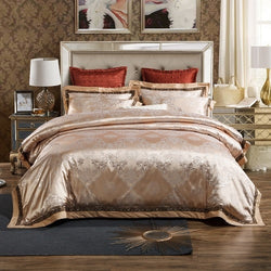 Taha Ornamental Motif Printed Satin Jacquard Duvet Cover Set - Venetto Designbedding set 1 / Queen size 4pcs