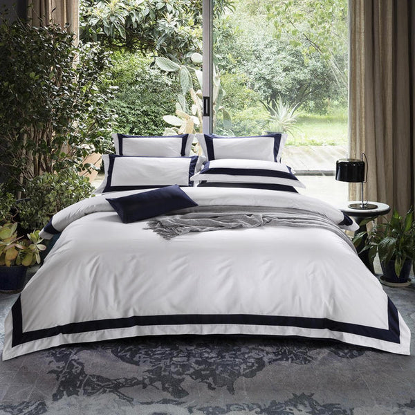 Degella Egyptian Cotton Luxury White Duvet Cover Set - Venetto Designbedding set 1 / King A