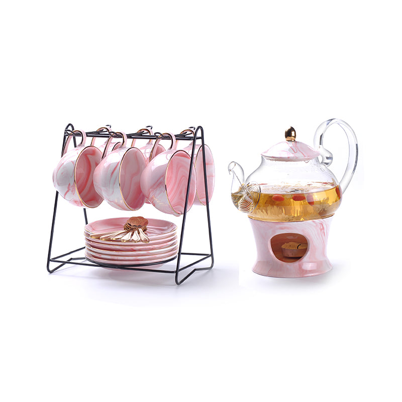 Rimiero Marbling Porcelain Tea/Coffee Set with Candle Warmer - Venetto DesignPink Full Set
