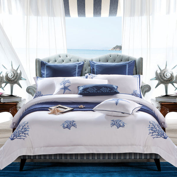 Amellora Egyptian Cotton Embroidered Tribute Silk Duvet Cover Set - Venetto DesignColor 1 / King 4Pcs