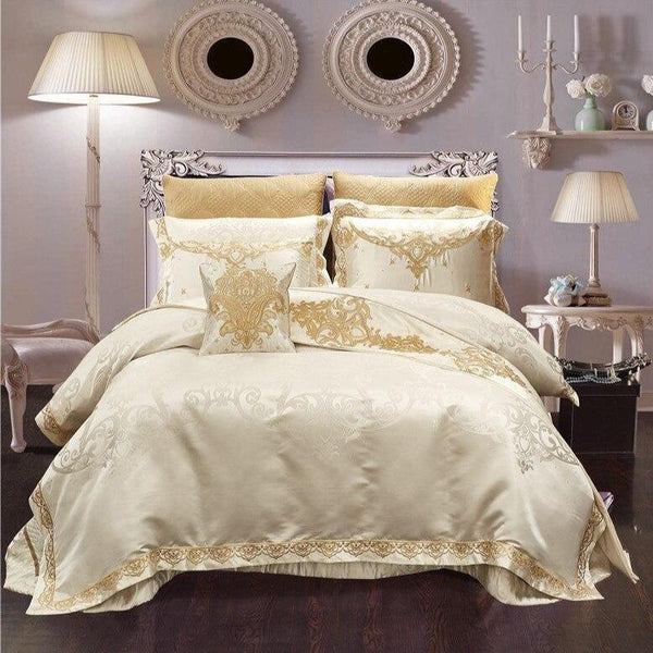 Rovenia Luxury Satin Cotton Duvet Cover Set - Venetto DesignKing 10 pcs set