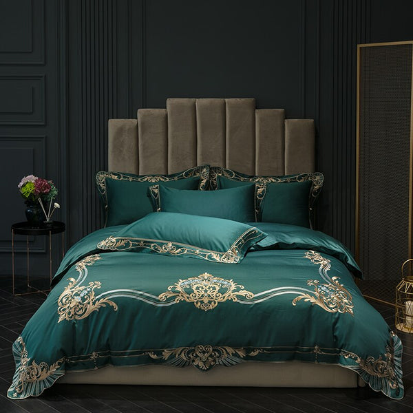 Magnori Egyptian Cotton Embroidered Duvet Cover Set - Venetto Designbedding set 5 / King size 4pcs / Bed sheet style
