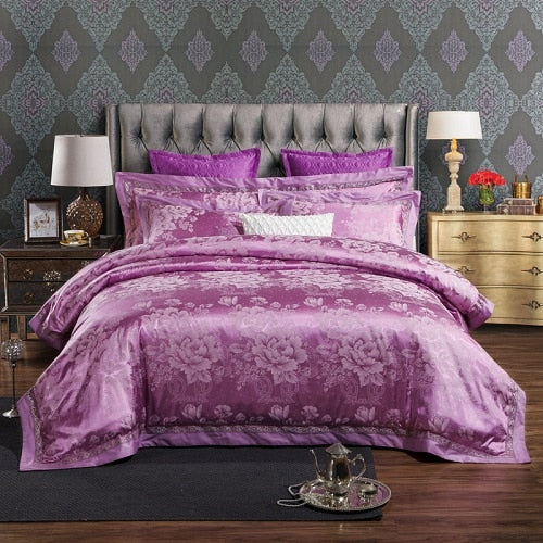 Taha Ornamental Motif Printed Satin Jacquard Duvet Cover Set - Venetto Designbedding set 6 / Queen size 4pcs