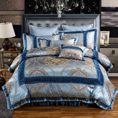 Dhahab Luxury Ruched Jacquard Edge Cotton Satin Duvet Cover Set - Venetto Design6 / Full size 4Pcs