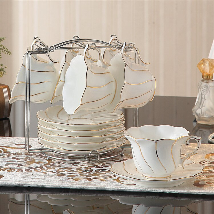 Benedicta Porcelain Gold Inlay Bone China Tea Set - Venetto Design6Cups n Holder