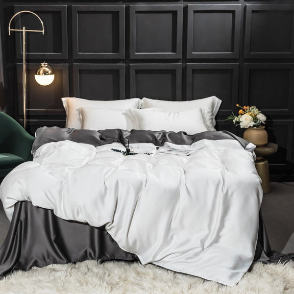 Karia Tencel Silky Soft 2 Color Duvet Cover Set - Venetto DesignColor 2 / King size 4pieces / Fitted Bed Sheet