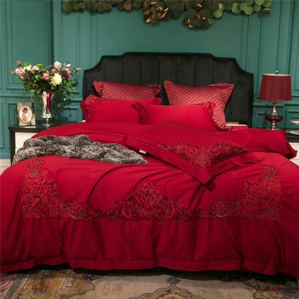 Miriada Red Egyptian Cotton Luxury Duvet Cover Set - Venetto Design1 / King size 4pcs