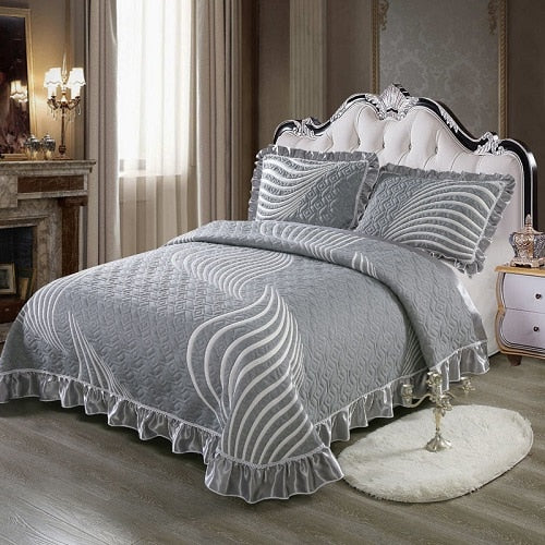 Aabirah Wide Ruffled Edge 100% Cotton Bedspread Set - Venetto Design8 / 230X250 cm 3pcs