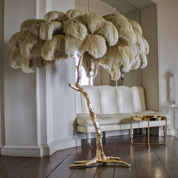 Palmera Luxury Feather Floor/Table Lamp - Venetto DesignGrey / Floor Lamp