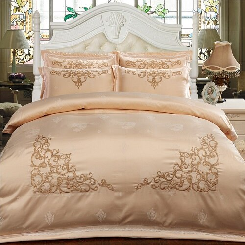 Milessa Silver Cotton Chinese Embroidery Duvet Cover Sets - Venetto Design4 / King size 4pcs