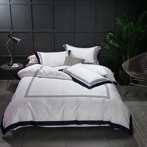 Nalva Luxury White 100%Cotton Duvet Cover Set - Venetto Design6 / King size 4pcs / Fitted sheet style