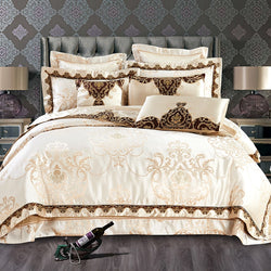 Bellor Beige Embroidered Cotton Stain Jacquard Luxury Duvet Cover Set - Venetto Design1 / King size 10Pcs