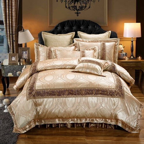 Dhahab Luxury Ruched Jacquard Edge Cotton Satin Duvet Cover Set - Venetto Design1 / Full size 4Pcs