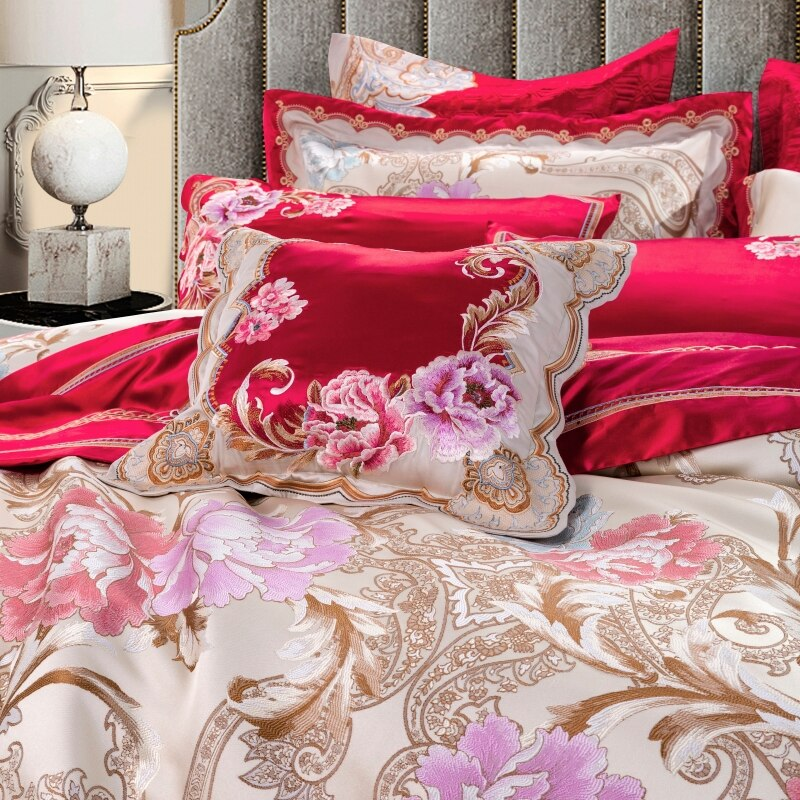 Tulipia Luxury Sateen Cotton Paisley Floral Jacquard Royal Duvet Cover Set - Venetto Design