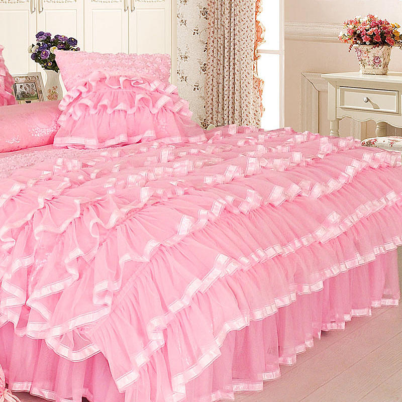 Aaliyah Triple Layered Ruffled Cotton And Lace Duvet Cover And Bed Skirt Set - Venetto Design
